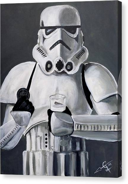 Stormtrooper Canvas Print - Milk And Cookies by Tom Carlton