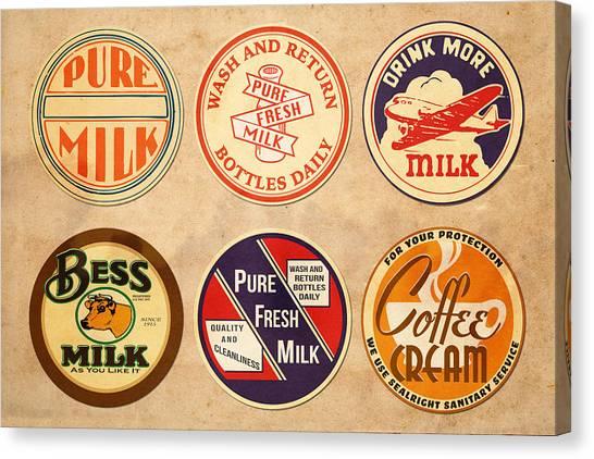 Milk Canvas Print - Milk Bottle Tops by Greg Joens