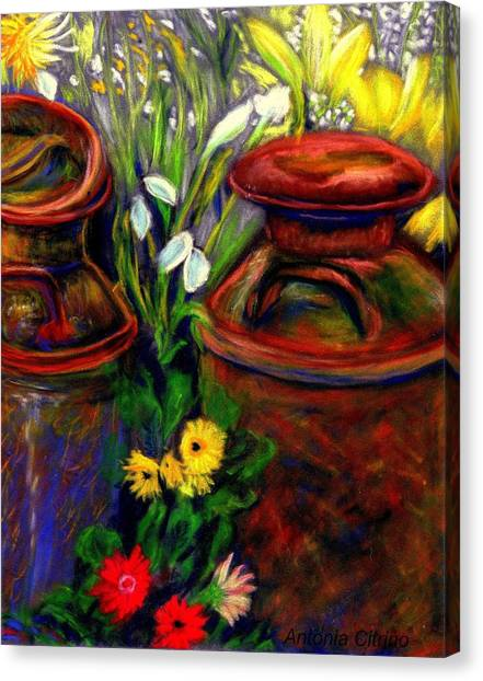 Milk Cans At Flower Show Sold Canvas Print