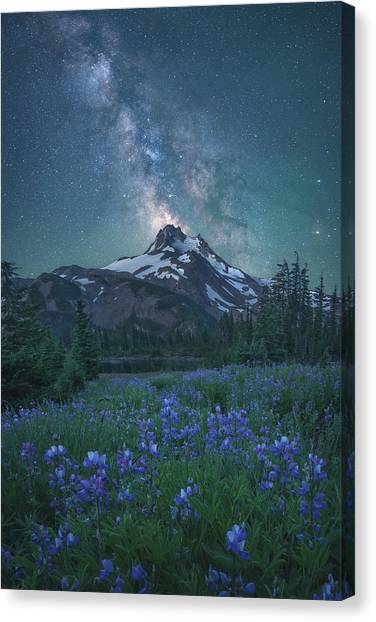 United Way Canvas Print - Milky Way Above Mt. Jefferson by Steve Schwindt