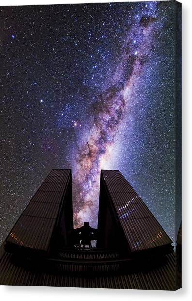 Atacama Desert Canvas Print - Milky Way Above The Ntt Telescope by Babak Tafreshi