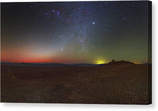 Atacama Desert Canvas Print - Milky Way And Zodiacal Light At Dusk by Babak Tafreshi