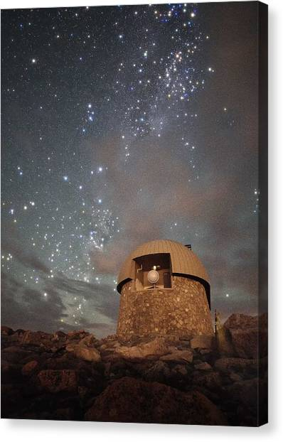 Milky Way Clouds Over The Mount Evans Observatory Canvas Print by Mike Berenson