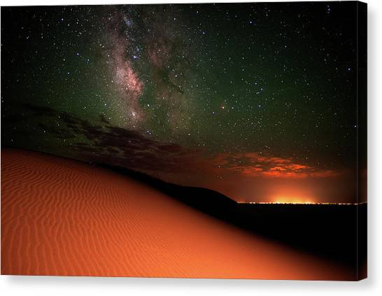 Milky Way Gold From Sand Dunes Colorado Canvas Print by Mike Berenson / Colorado Captures