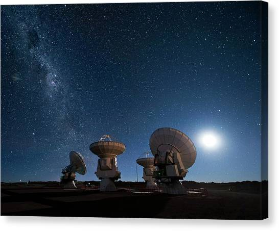 Atacama Desert Canvas Print - Milky Way Over Alma Antennas by Eso/jose Francisco Salgado (josefrancisco.org)