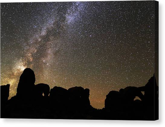 Canvas Print featuring the photograph Milky Way Over Arches National Park by Jean Clark