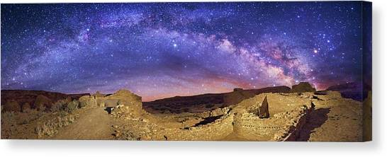 United Way Canvas Print - Milky Way Over Chaco Canyon Ruins by Walter Pacholka, Astropics