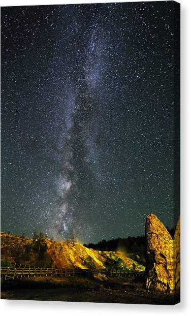Canvas Print featuring the photograph Milky Way Over Mammoth Hot Springs In Yellowstone by Jean Clark