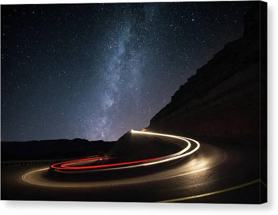 Long Exposure Canvas Print - Milky Way Over Mitzpe Ramon by Erez Vansover