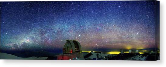 Keck Canvas Print - Milky Way Over Telescopes On Hawaii by Walter Pacholka, Astropics