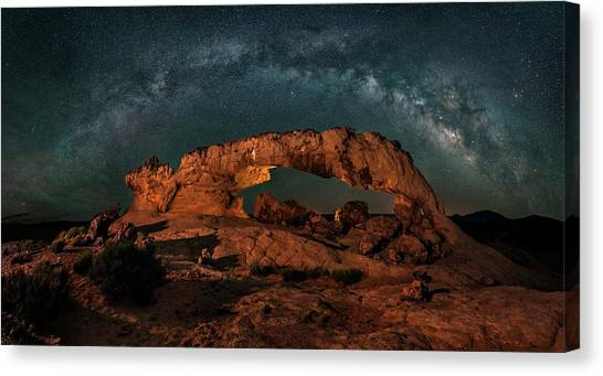 United Way Canvas Print - Milky Way Over The Sunset Arch by Hua Zhu