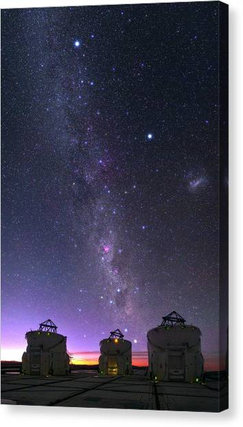 Chilean Canvas Print - Milky Way Over Vlt Telescopes by Babak Tafreshi