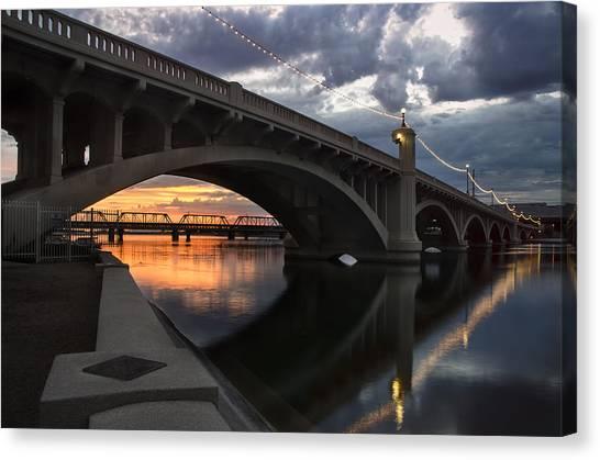 Arizona State University Asu Tempe Canvas Print - Mill Avenue Bridge Reflections Sunset by Dave Dilli