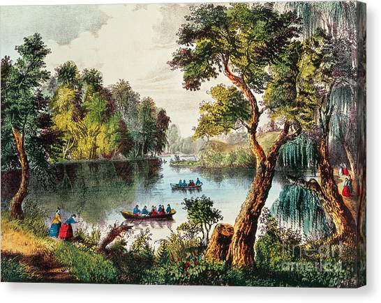 Currier And Ives Canvas Print - Mill Cove Lake by Currier and Ives
