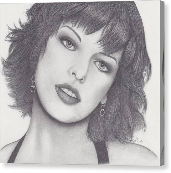 Resident Evil Canvas Print - Milla Jovovich by Nancy Esposito