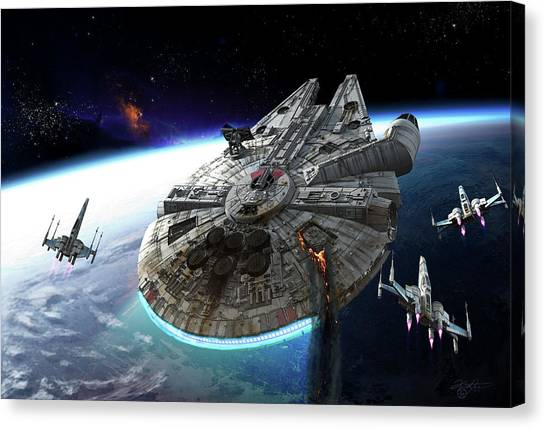 Falcons Canvas Print - Millenium Falcon Being Escorted by Kurt Miller