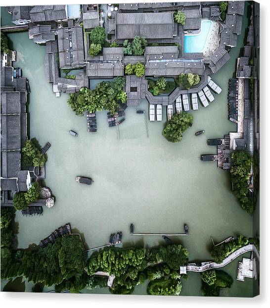 Millennium Ancient Town Canvas Print by Zhou Chengzhou