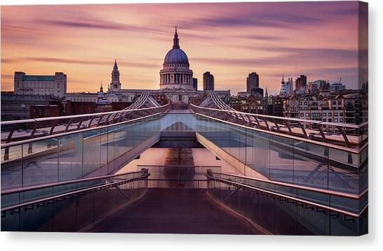 Cathedrals Canvas Print - Millennium Bridge Leading Towards St. Paul's Church by Roland Shainidze