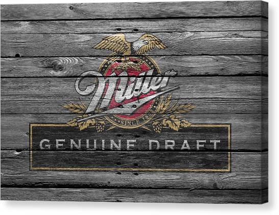 Beer Can Canvas Print - Miller by Joe Hamilton