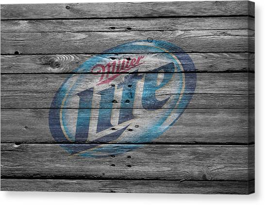 Beer Can Canvas Print - Miller Lite by Joe Hamilton