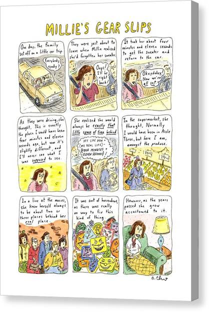 Psychology Canvas Print - Millie's Gear Slips by Roz Chast