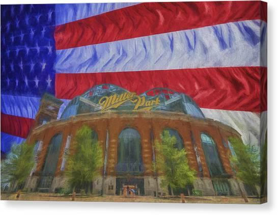 Milwaukee Brewers Canvas Print - Milwaukee Breers Miller Park Digitally Painted Flag 3 by David Haskett II