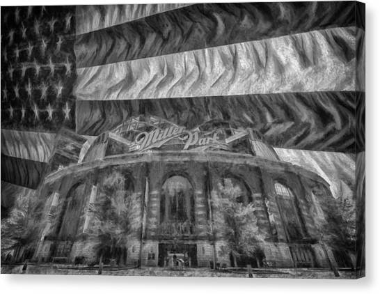 Milwaukee Brewers Canvas Print - Milwaukee Brewers Miller Park Flag Bnw Painted Digitally 2 by David Haskett II