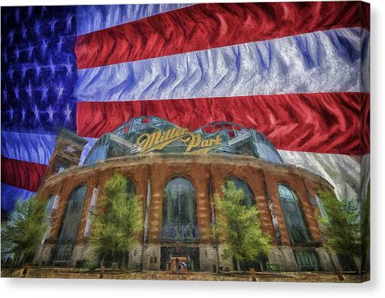 Milwaukee Brewers Canvas Print - Milwaukee Brewers Miller Park Flag Painted Digitally 1 by David Haskett II