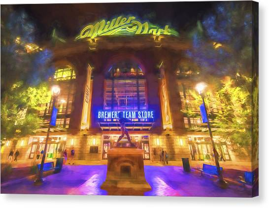 Milwaukee Brewers Canvas Print - Milwaukee Brewers Miller Park Painted Digitally by David Haskett