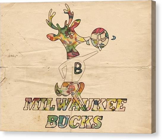 Milwaukee Bucks Canvas Print - Milwaukee Bucks Retro Poster by Florian Rodarte