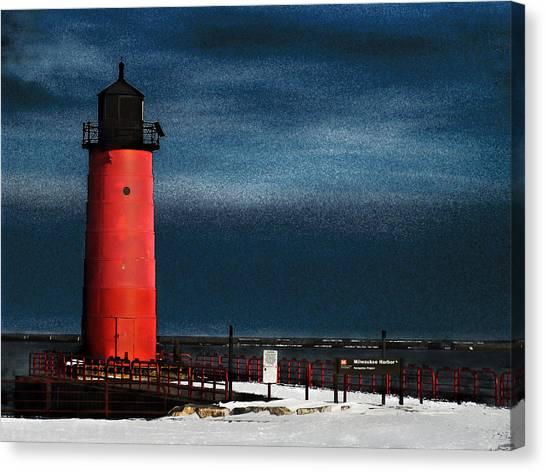 Milwaukee Pierhead Lighthouse Canvas Print by David Blank