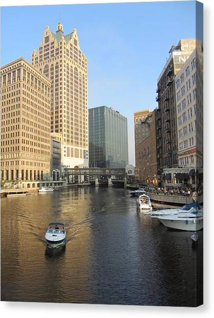 Milwaukee River Theater District 3 Canvas Print