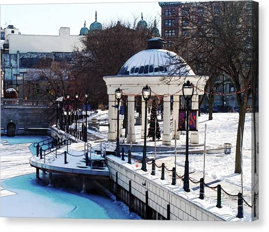 Milwaukee River Walk 3 - Pere Marquette Park - Winter 2013 Canvas Print by David Blank