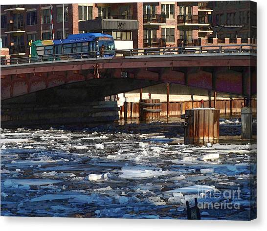 Milwaukee River - Winter 2014 Canvas Print by David Blank
