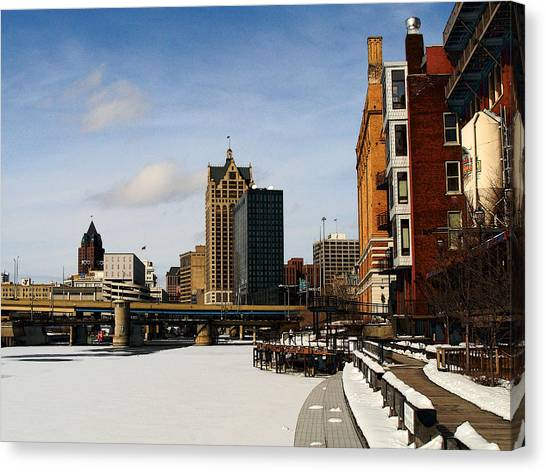 Milwaukee Riverwalk Canvas Print by David Blank