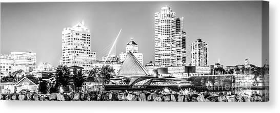 Northwestern University Canvas Print - Milwaukee Skyline At Night Panorama In Black And White by Paul Velgos