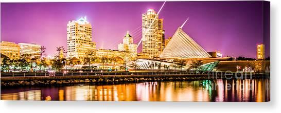 Northwestern University Canvas Print - Milwaukee Skyline At Night Panoramic Picture by Paul Velgos
