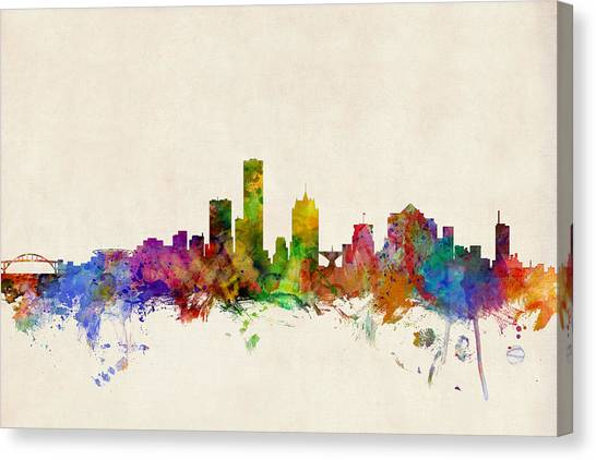 Watercolour Canvas Print - Milwaukee Wisconsin Skyline by Michael Tompsett