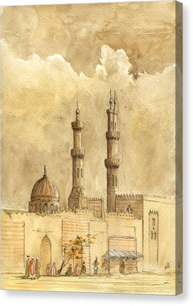 Islamic Art Canvas Print - Minaret Of Al Azhar Mosque by Juan  Bosco