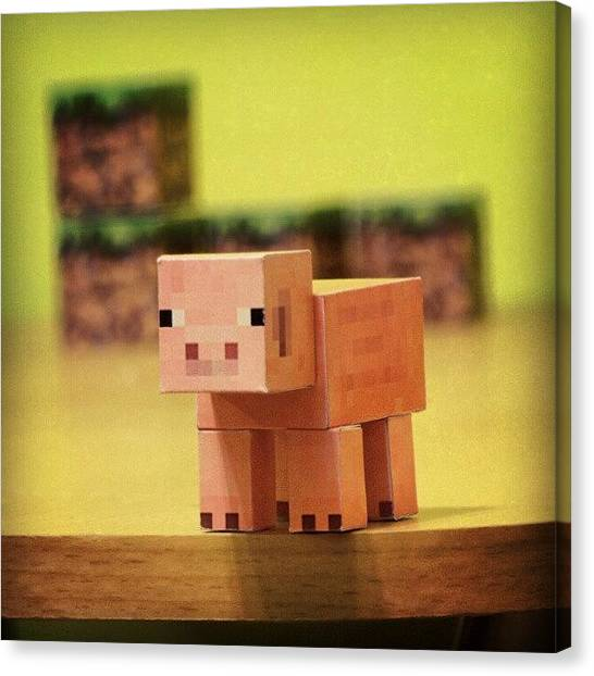 Video Games Canvas Print - #minecraft #pig #piggy #paper #papercut by Mato Mato