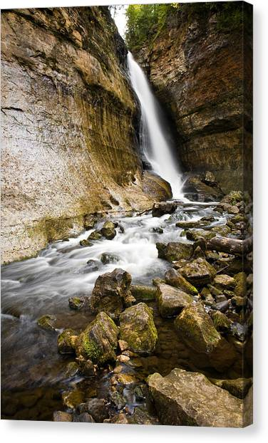 Alger Waterfalls Canvas Print - Miners Falls by James Marvin Phelps
