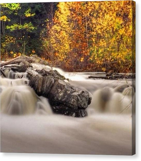 Waterfalls Canvas Print - Mines Falls Nashua, Nh  #autumn #fall by Joann Vitali