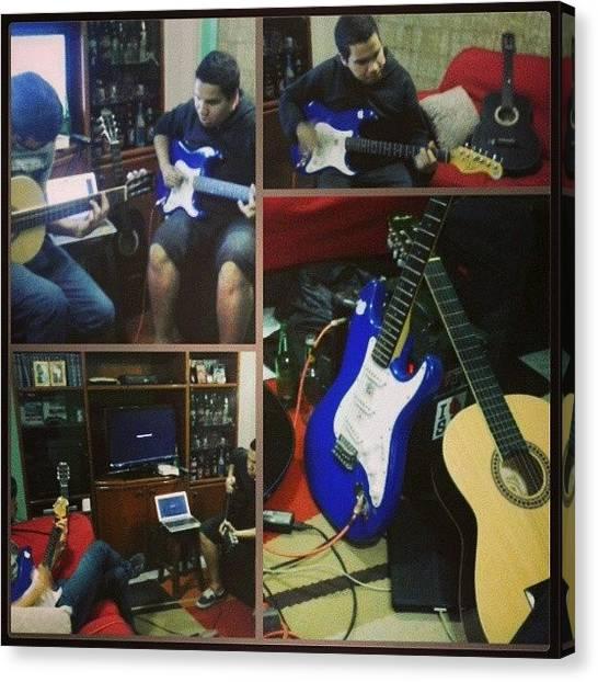 Stratocasters Canvas Print - Minha Casa Virou Estúdio Hoje! ;-) by Vinicius Nabuco