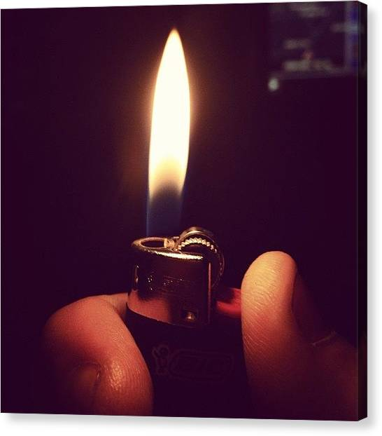 Hands Canvas Print - Mini Bic #bic #lighter #flame #fire by Geoff Clarke