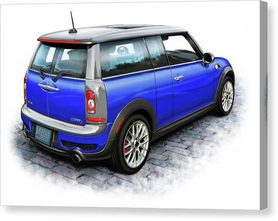 Mini Cooper Clubman Blue Canvas Print by David Kyte