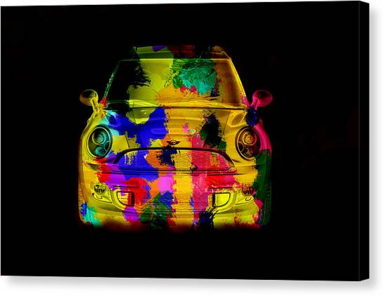 Mini Cooper Colorful Abstract On Black Canvas Print