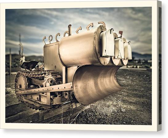 Excavators Canvas Print - Mini Excavator Mailbox by Yo Pedro