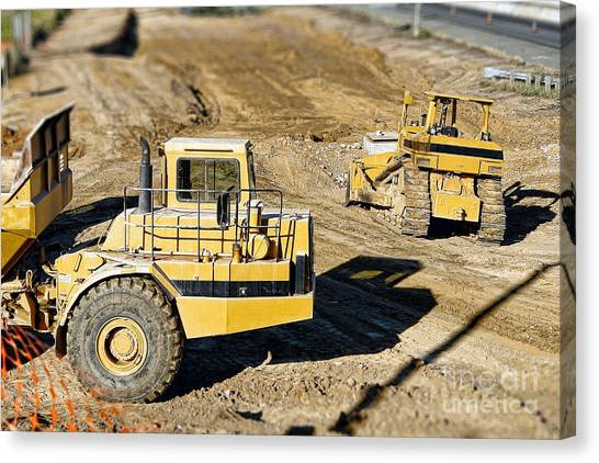 Bulldozers Canvas Print - Miniature Construction Site by Olivier Le Queinec