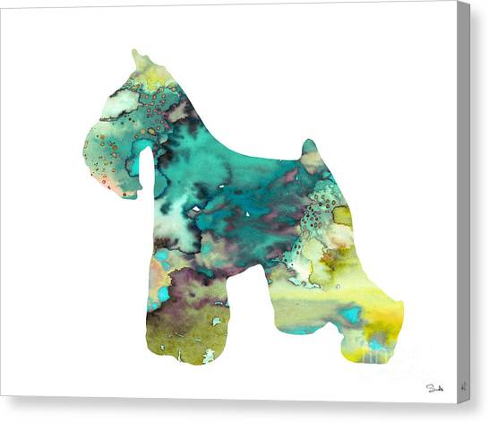 Schnauzers Canvas Print - Miniature Schnauzer  by Watercolor Girl