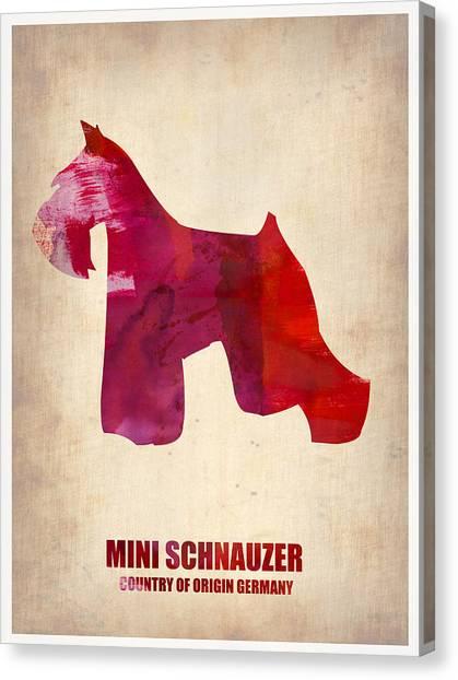 Schnauzers Canvas Print - Miniature Schnauzer Poster by Naxart Studio
